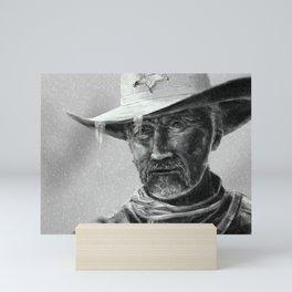 Cowboy Sheriff in Rain Mini Art Print