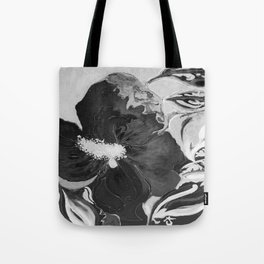 Black and White of Birthday Acrylic Blue Orange Hibiscus Flower Painting with Red and Green Leaves Tote Bag