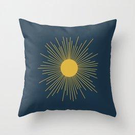 Mid-Century Modern Sunburst II in Light Mustard and Navy Blue Throw Pillow