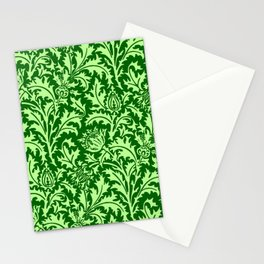 William Morris Thistle Damask, Emerald Green Stationery Cards