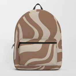 Liquid Swirl Contemporary Abstract Pattern in Chocolate Milk Brown and Beige Backpack