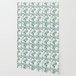 Country white green rustic watercolor floral Wallpaper
