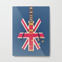 Union Jack Flag Guitar - Navy Metal Print