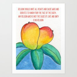 Religion should be the cause of love and affection Art Print