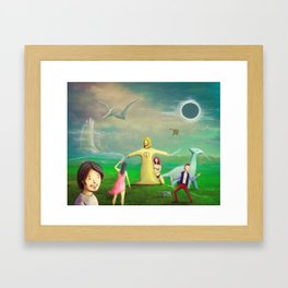 Jesus Rave Dinosaur Party Framed Art Print