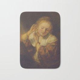 "Rembrandt Harmenszoon van Rijn, ""Young Woman Trying Earrings"", 1654 Bath Mat"
