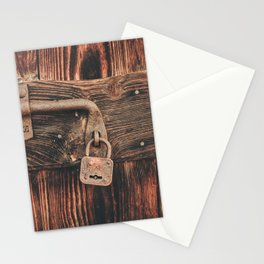 Vintage Padlock on Antique Wooden Door Stationery Cards