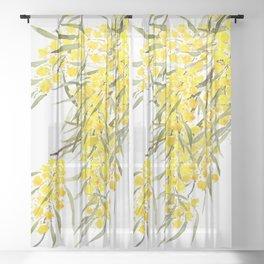Godlen wattle flower watercolor Sheer Curtain