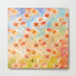 Summer Poppy Pattern Metal Print