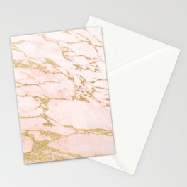 Blush pink abstract gold glitter marble Stationery Cards