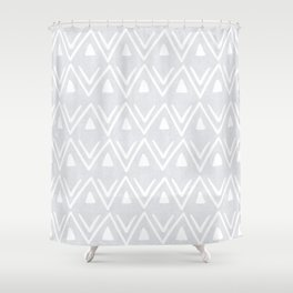 Etched Zig Zag Pattern in Gray Shower Curtain