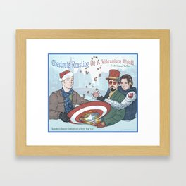 Superheroic Seasons Greetings (Chestnuts Roasting) Framed Art Print