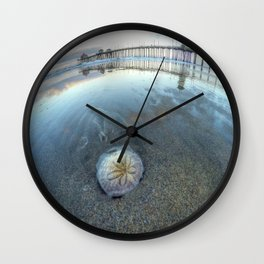 Chris Harsh Photos * A Low Tide Sand Dollar * Huntington Beach Pier  Wall Clock
