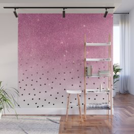 Black white polka dots pink glitter ombre Wall Mural