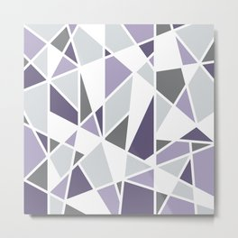 Geometric Pattern in purple and gray Metal Print