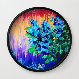 SHADES OF BEAUTIFUL - Stunning Bright BOLD Rainbow Ombre Pattern Blue Floral Hyacinth Nature Autumn Wall Clock