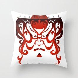 Shibaraku red - a Kabuki Portrait Throw Pillow