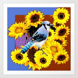 MODERN BLUE  JAY & COFFEE BROWN SUNFLOWERS Art Print