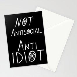 NOT Anti-Social Anti-Idiot - Dark BG Stationery Cards