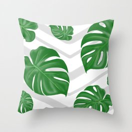 Monstera on chevrons Throw Pillow