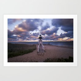 Sunset at Brant Point Lighthouse, Nantucket Island Art Print