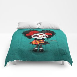 Day of the Dead Girl Playing Macedonian Flag Guitar Comforters
