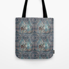 Elephant Ethnic Style Pattern Teal and Copper Tote Bag