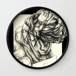 Geometric Black and White Animal portrait Pug Wall Clock