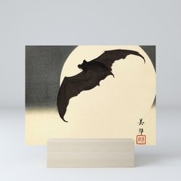 Koson Ohara - Bat and Full Moon - Japanese Vintage Woodblock Painting Mini Art Print