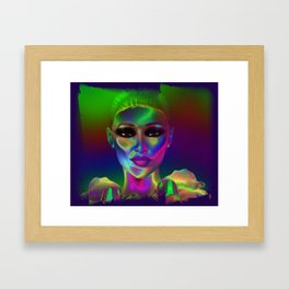 Facing The Neon In Abstract Framed Art Print