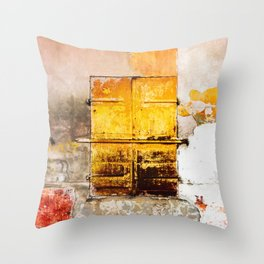 Old Metal Yellow Door on Scratched Wall Throw Pillow