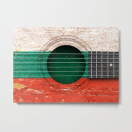 Old Vintage Acoustic Guitar with Bulgarian Flag Metal Print