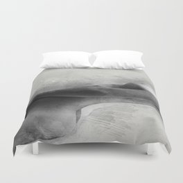 Time for Myself. Nude woman pencil and watercolor portrait Duvet Cover