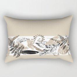 Tan and Black Tropical Rectangular Pillow