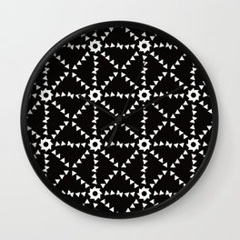 Triangle Snowflakes In Black and White Wall Clock