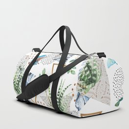 Geometric with cactus and butterflies Duffle Bag