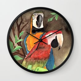 Parrot Couple with tropical leaves Watercolor Design Wall Clock