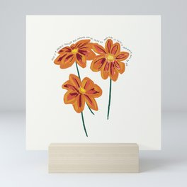 There is a Light that Never Goes Out Orange Flowers Illustration Lyric Mini Art Print