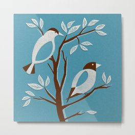 Blissful Blue Mid Century Birds On Branches Metal Print