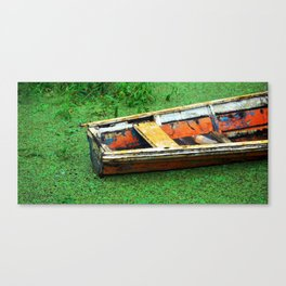 A Boat on Amazon Green Swamp  Canvas Print