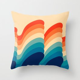 Retro 80s 70s Blue and Orange Mid-Century Minimalist Abstract Art Ripples Throw Pillow