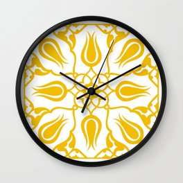 Yellow Turkish Traditional Floral Tile Art Wall Clock