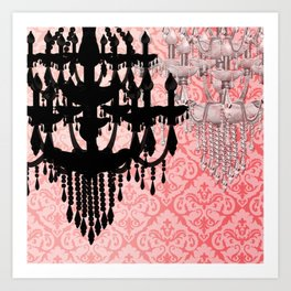 Glamorous Chandelier & Silhouette Damask Backdrop Art Print