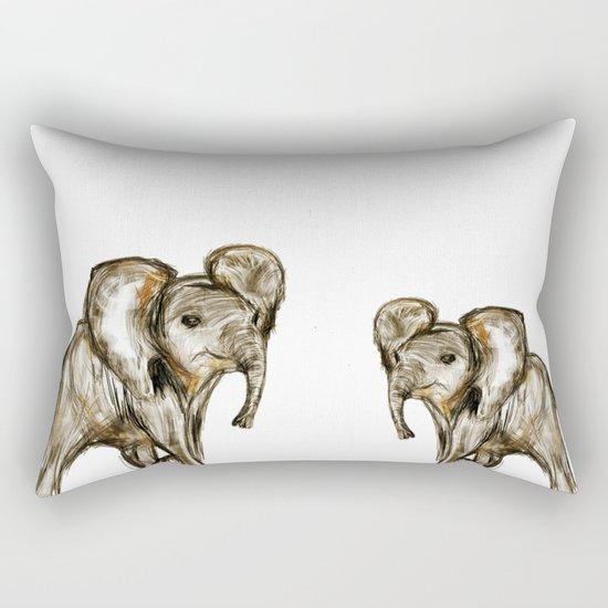 Baby Elephant Blue Rectangular Pillow