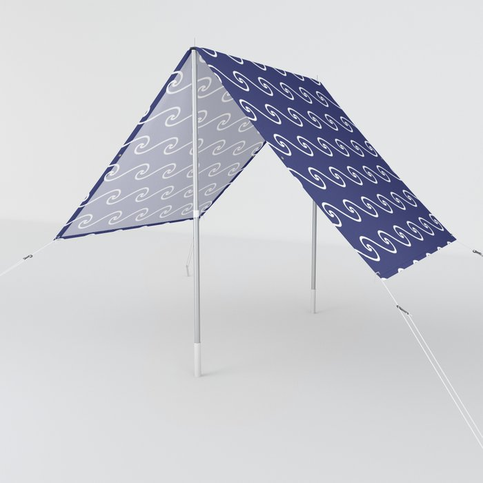 Wave Pattern | Waves | Nautical Patterns | Navy Blue and White | Sun Shade