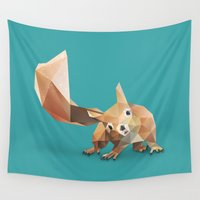 squirrel Wall Tapestries featuring Squirrel. by Diana D'Achille
