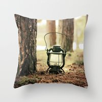 camping Throw Pillows featuring camping by katelyndee