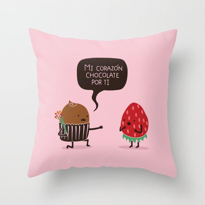 Mi Corazón Chocolate Por Ti Spanish Throw Pillow