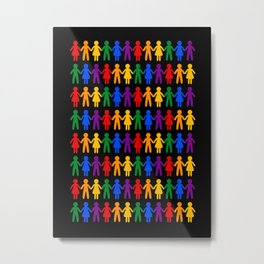 Rainbow People Pattern (black background) Metal Print