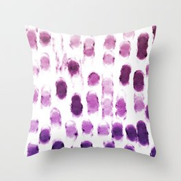 Purple Watercolor Brush Strokes Pattern Throw Pillow